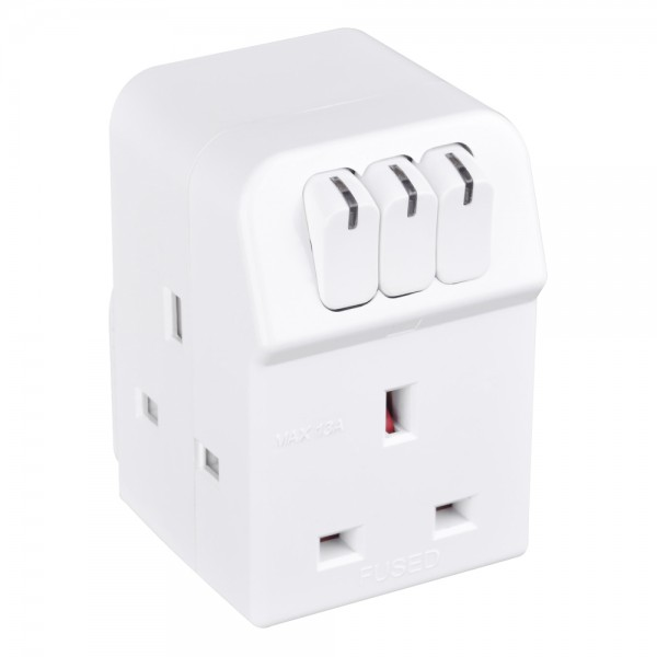 Masterplug MSWG3 Individual switched Adaptor 3 Socket and power indicator with 13A Fused