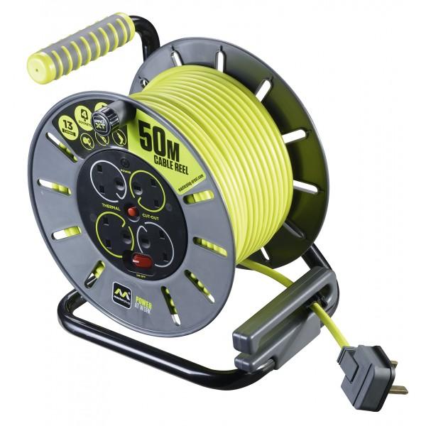 Masterplug PRO-XT OLU50134SL 50M Open Reel 4X 13A