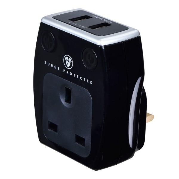 Masterplug SRGAUSBPB2 High gloss USB Adaptor Black (2 x USB 2.1A + 1X13A Socket)