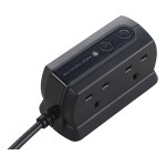Masterplug SRGD42MB Surge Compact 4 Socket 2m Extension Lead 13A Matt Black