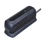 Masterplug SRGD62MB Surge Compact 6 Socket 2m Extension Lead 13A Matt Black