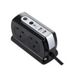 Masterplug Surge Compact 2 USB X3.1A with 4 x13A 2M extension lead High gloss Black SRGDSU42PB