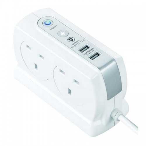 Masterplug SRGDSU43PW Surge Compact 2 USB X3.1A with 4 x13A 3M extension lead High gloss White