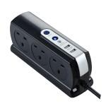 Masterplug Surge Compact 2 USB X3.1A with 6 x13A 2M extension lead High gloss Black SRGDSU62PB
