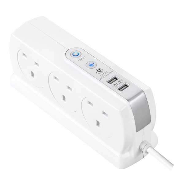 Masterplug Surge Compact 2 USB X3.1A with 6 x13A 3M extension lead High gloss White SRGDSU63PW