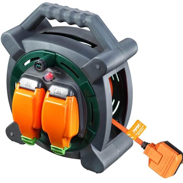 Masterplug HLP2013/2IP  20M Case Reel IP54 rated socket 2 X 13A -  Orange & Grey