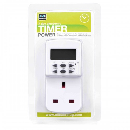 Masterplug TES7 7 Days Programmable Electronic Timer White