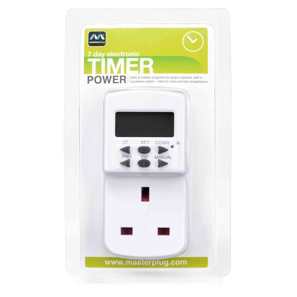 Masterplug TES7 7 Days Programmable Electronic Timer White