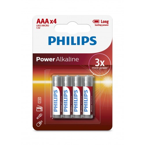 Philips LR03P4B/97 Power Alkaline AAA Batteries 4 pcs/pack