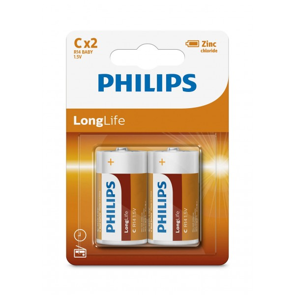 Philips R14L2B/97 LongLife Zinc Carbon Batteries C 2 pcs/pack