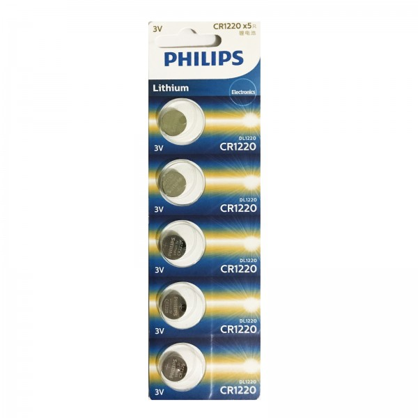 Philips Lithium Minicells Button Batteries 5pcs/pack CR1220P5B/97