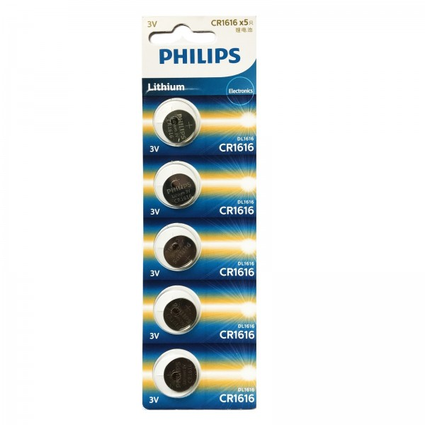 Philips Lithium Minicells Button Batteries 5pcs/pack CR1616P5B/97