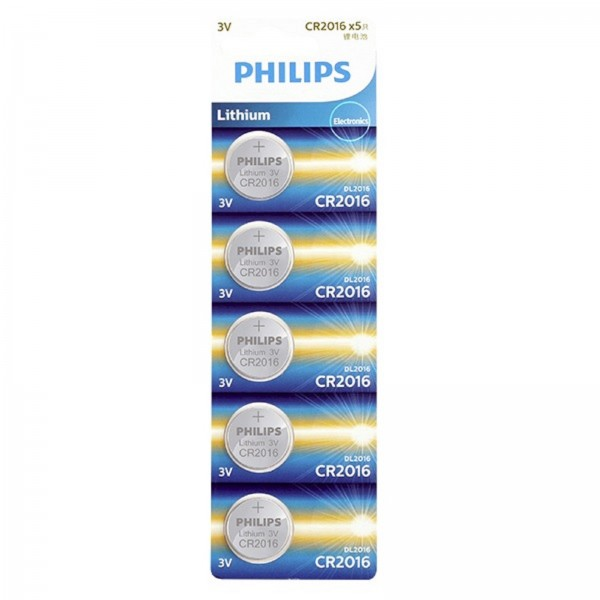 Philips Lithium Cell Button Battery 5pcs/pack CR2016P5B/97