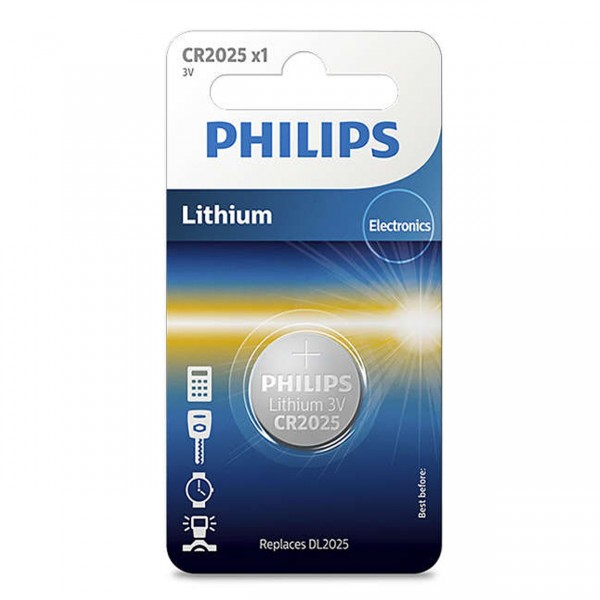 Philips Lithium Minicells Button Batteries 1pc/pack CR2025/97