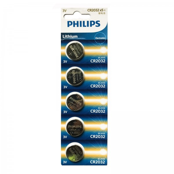 Philips Lithium Minicells Button Batteries 5pcs/pack CR2032P5B/97