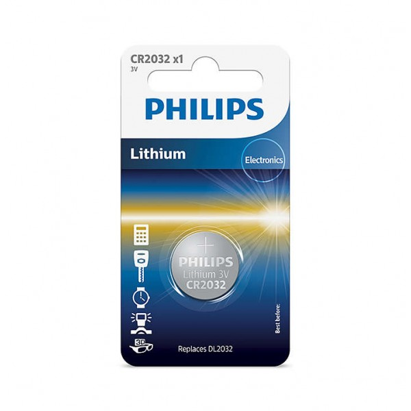 Philips Lithium Minicells Button Batteries 1pc/pack CR2032/97