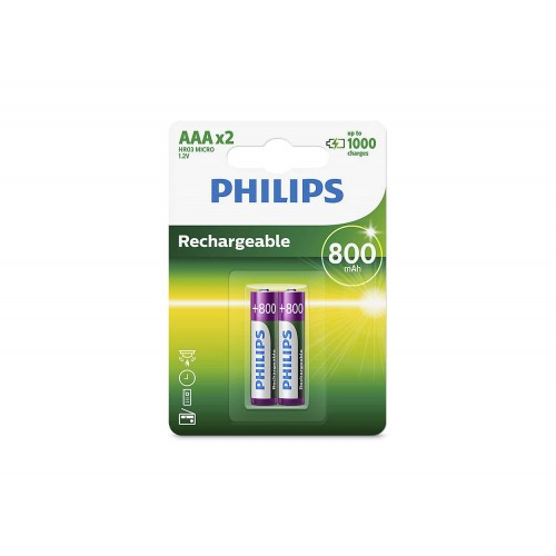 Philips R03B2A80/97 Rechargeables Rechargeable Batteries 800 mAh  AAA 2pc/pack