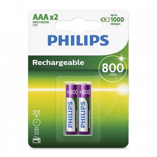 Philips R03B2A80/97 Rechargeable Batteries AAA 2pc/pack
