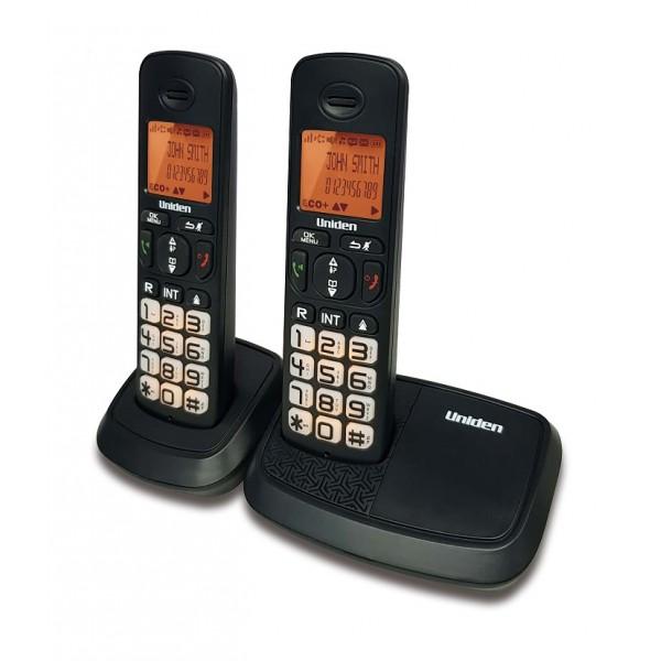 Uniden AT4103-2 DECT (1.8 Ghz) Name and Number CID Speakerphone Big LCD and Keypad Backlit  Black
