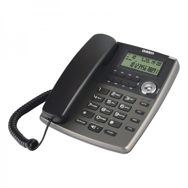 Uniden AS7401 Cored Phone with Message Waiting Lamp Titanium