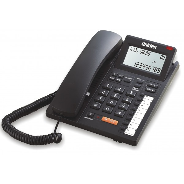 Uniden LCD Tilt Adjustable Corded Phone with CID, Speaker AS7411 Black