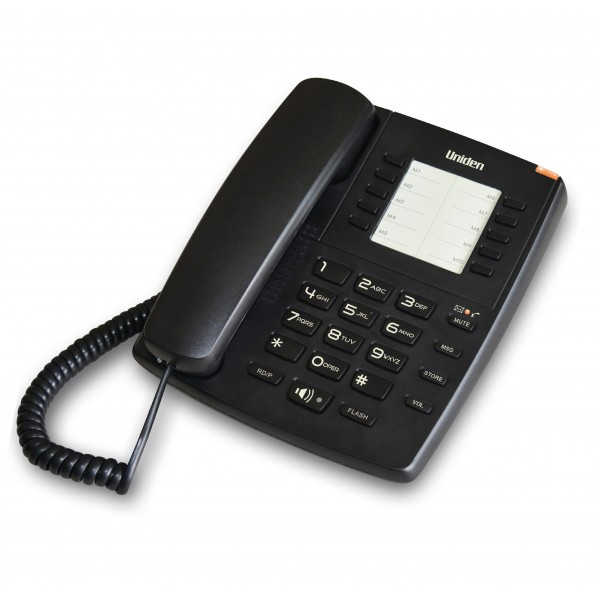 Uniden AS7301 Corded Phone with Message Waiting Lamp Black