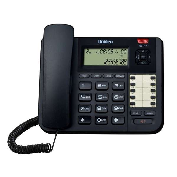 Uniden 2 Line with Intercom  (2 CO x 16 Extension System Phone) Boss and Secretary Phone AT8501 Black