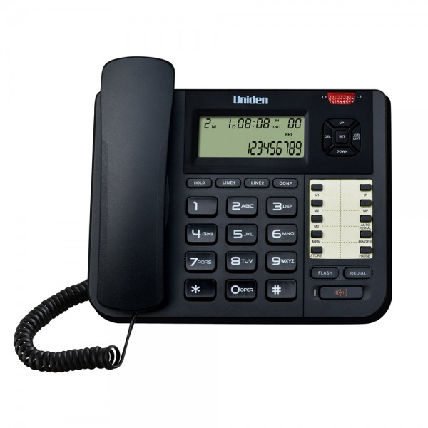 Uniden AT8502 2 Line Phone  High Quality Speaker Phone 3 Direct Memory Black