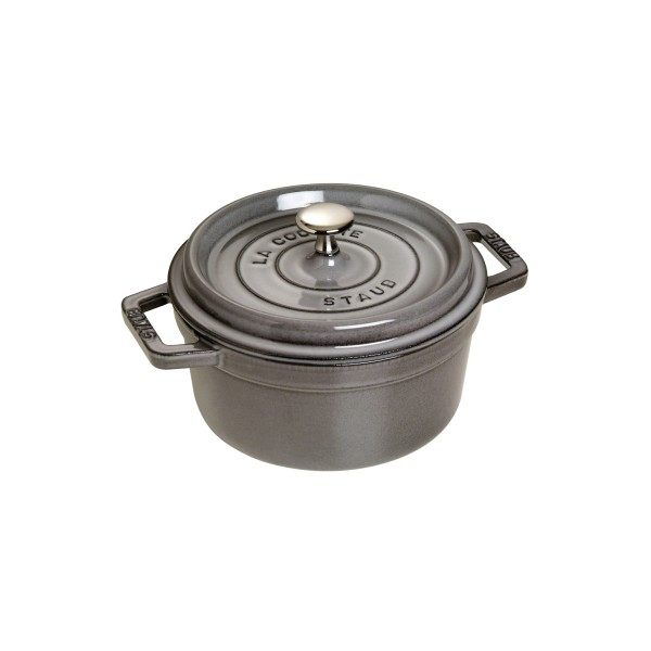 STAUB 4-QT CAST IRON  ROUND COCOTTE, GRAPHITE GREY  24cm /3.8L  1102418 Made in France