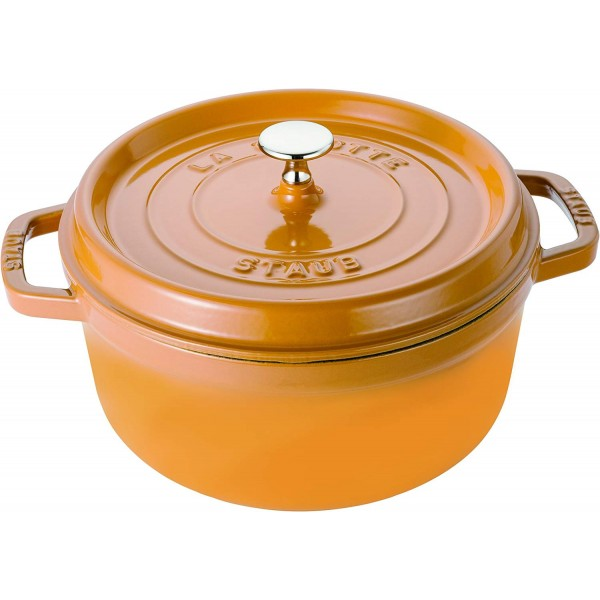 STAUB ROUND COCOTTE MUSTARD 24cm /3.8L  1102412 Made in France