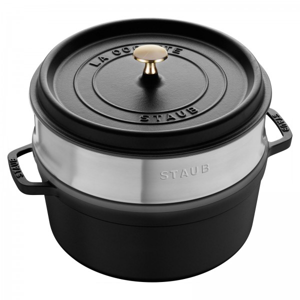 Staub 1133825 Round Cocotte Black with Steamer Insert 26cm /5.2L Made in France