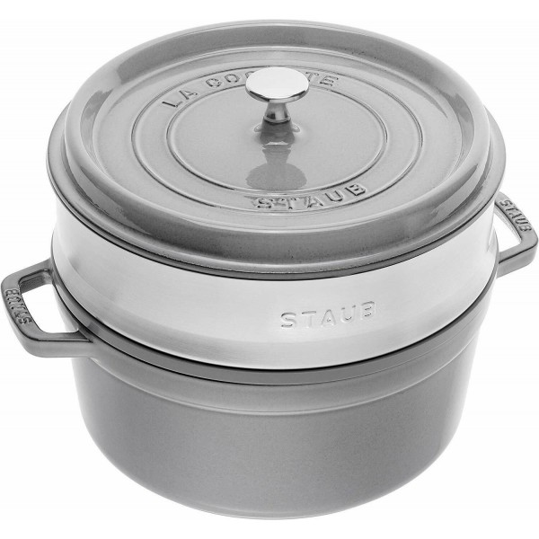 Staub 1133818 Round Cocotte Graphite grey with Steamer Insert 26cm /5.2L Made in France